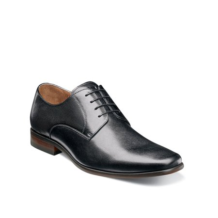 Florsheim Mens Postino Plain Toe Oxford, Black Smooth/Perf, Size 8.5
