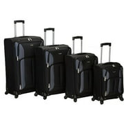 Rockland Luggage Quad 4 Piece Spinner Carry On Luggage Set, Black