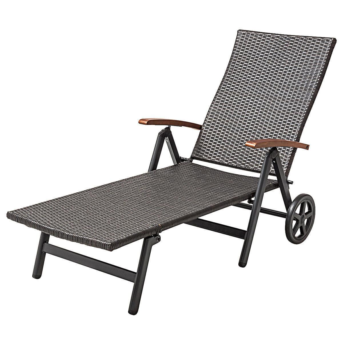 Gymax Folding Recliner Adjustable Lounge Chair Wheels Patio Deck Beach Brown Rattan