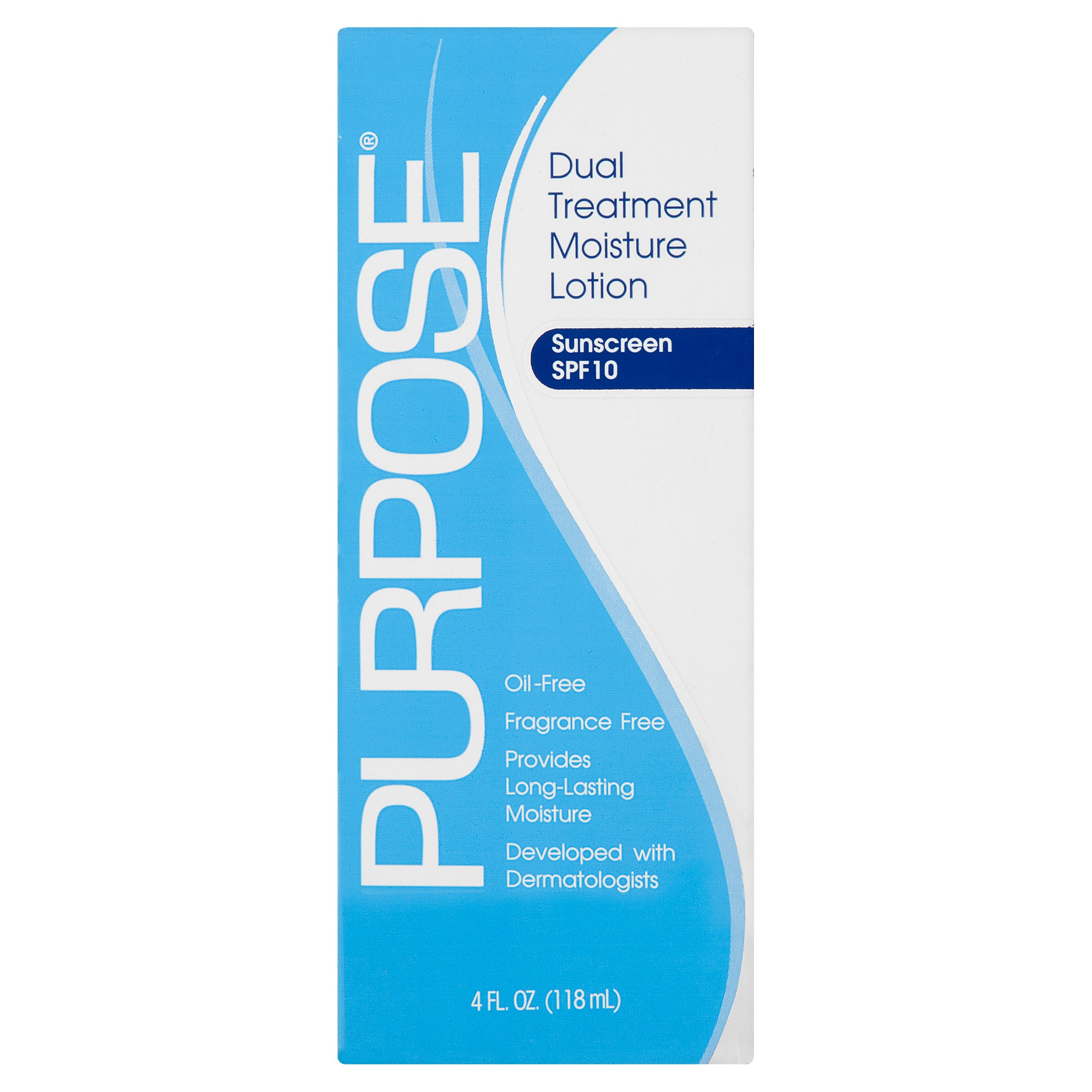 Purpose Dual Treatment Moisture Lotion Sunscreen, SPF 10, 4 fl oz