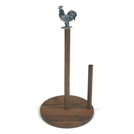 Simply Bamboo Carbonized Bamboo Paper Towel Holder w/ Metal Rooster