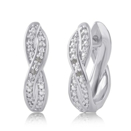 Genuine 0.02 cttw Natural Diamond Accent Twisted Hoop Earrings In 14K White Gold Plated