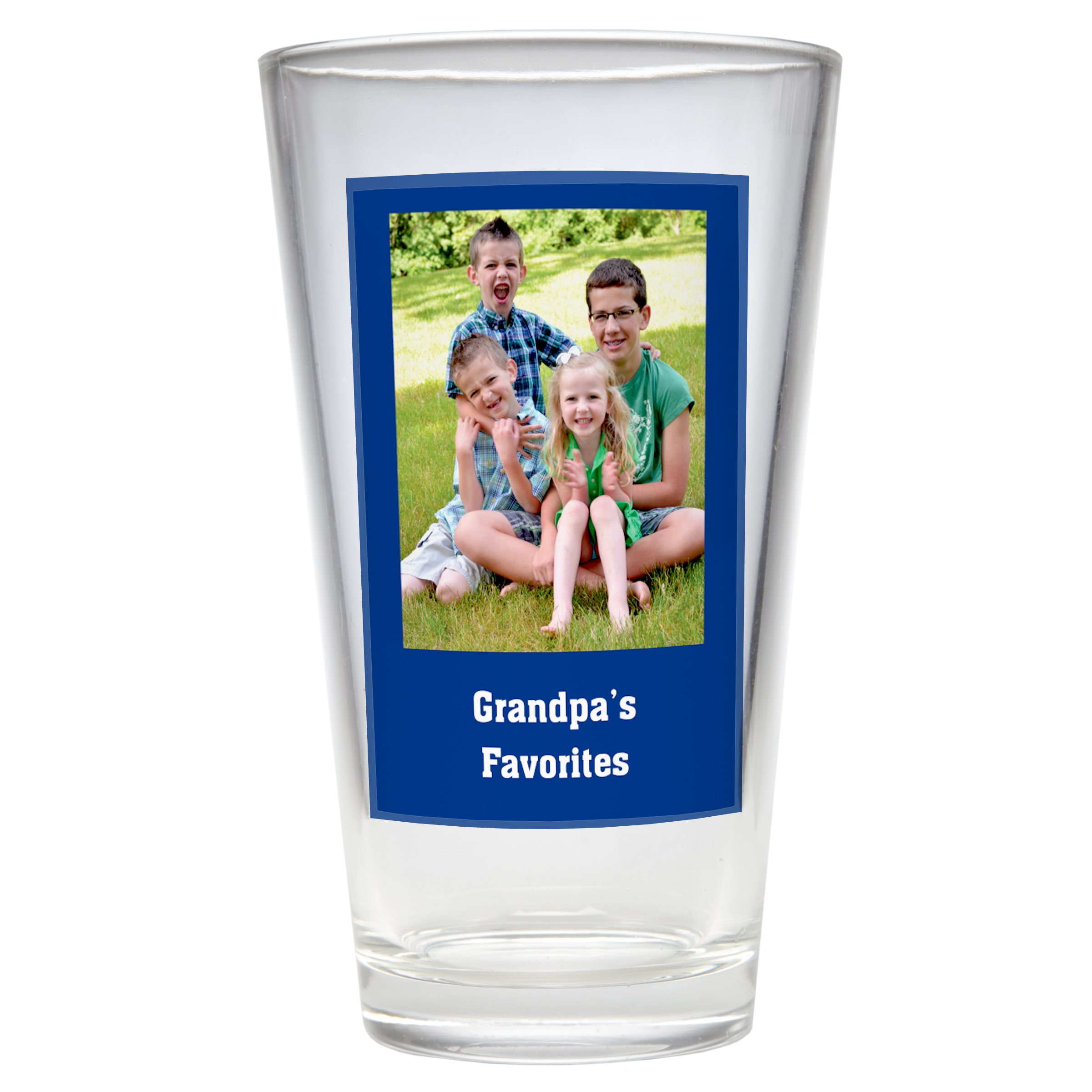 Personalized Photo Message Pub Glass - Single Glass - Available in 4 Colors
