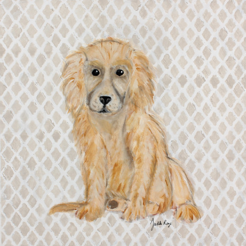 Judith Raye Paintings LLC Puppy Golden Retriever by Judith Raye Painting Print on Canvas