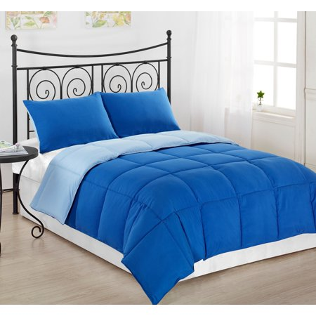 Royal Blue Comforter - Reversible 2pc TWIN Size Down Alternative Comforter set Royal Blue/Light Blue Bed Cover