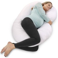 PharMeDoc Pregnancy Pillow with White Cover - C Shaped Body Pillow for Pregnant Women