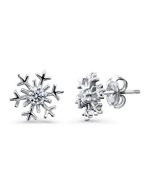 48e108e5f Product Image Rhodium Plated Sterling Silver Cubic Zirconia CZ Snowflake  Fashion Stud Earrings