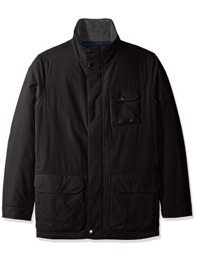 Nautica NEW Black Mens Size Large L Mock-Neck Full-Zip Parka Jacket