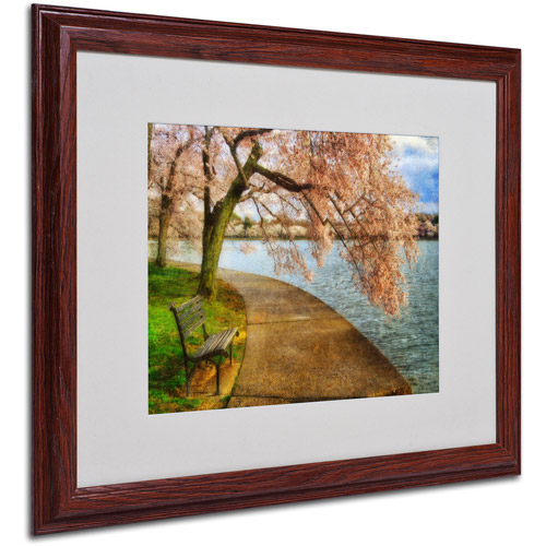 "Trademark Fine Art ""Meet Me At Our Bench"" by Lois Bryan, Wood Frame"