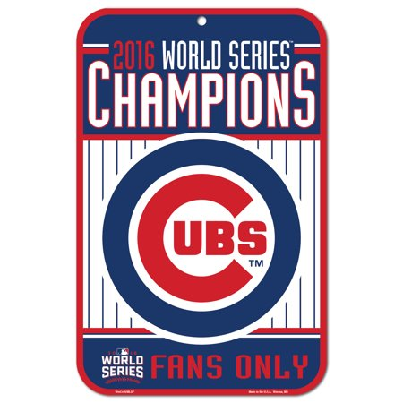 Chicago Cubs World Series Champions 11 X 17 Plastic Sign