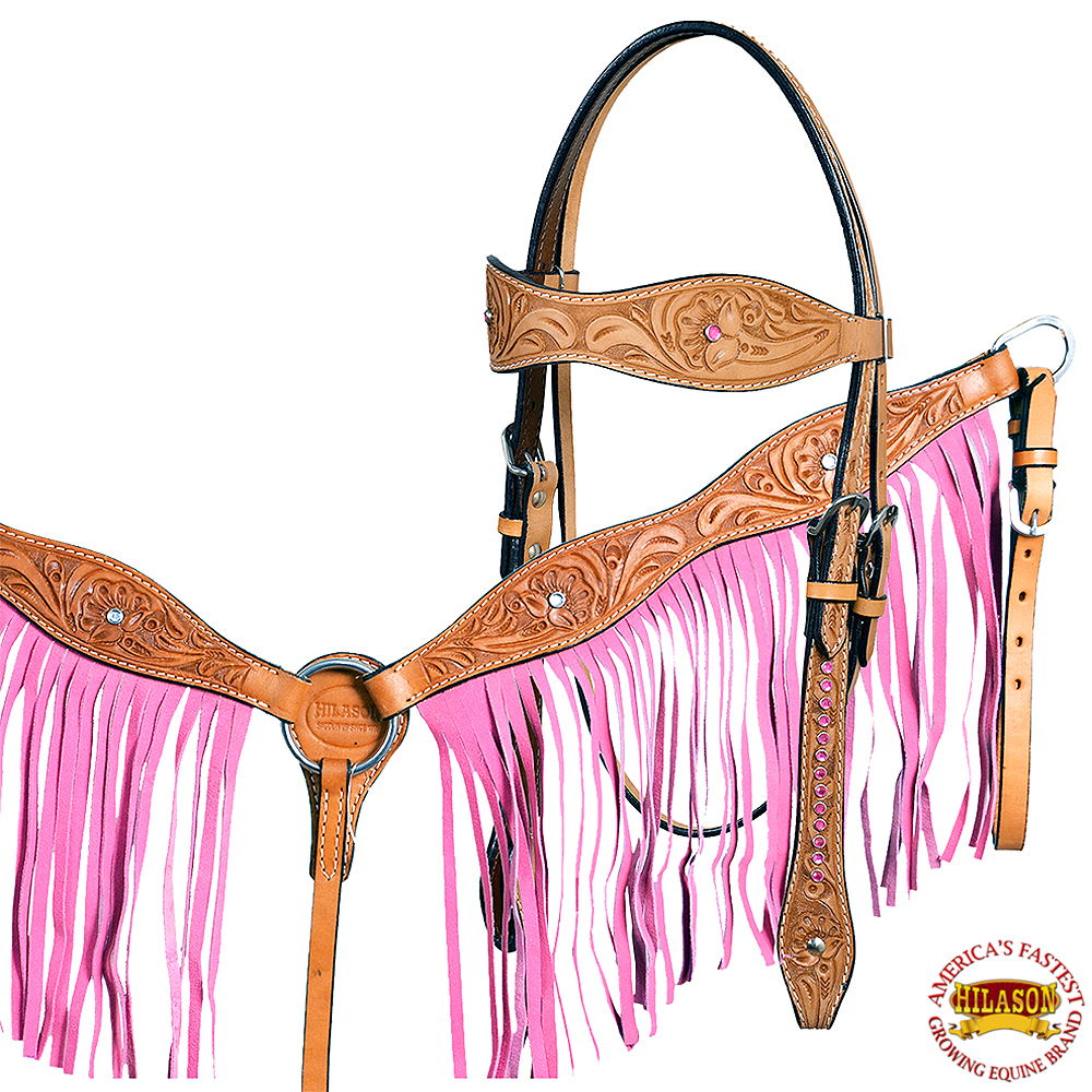 HILASON WESTERN LEATHER HORSE HEADSTALL BREAST COLLAR TAN W/ PINK FRINGES
