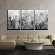 """wall26 3 Piece Canvas Wall Art - Abstract Black and White Splash Artwork - Modern Home Decor Stretched and Framed Ready to Hang - 24""""x36""""x3 Panels"""