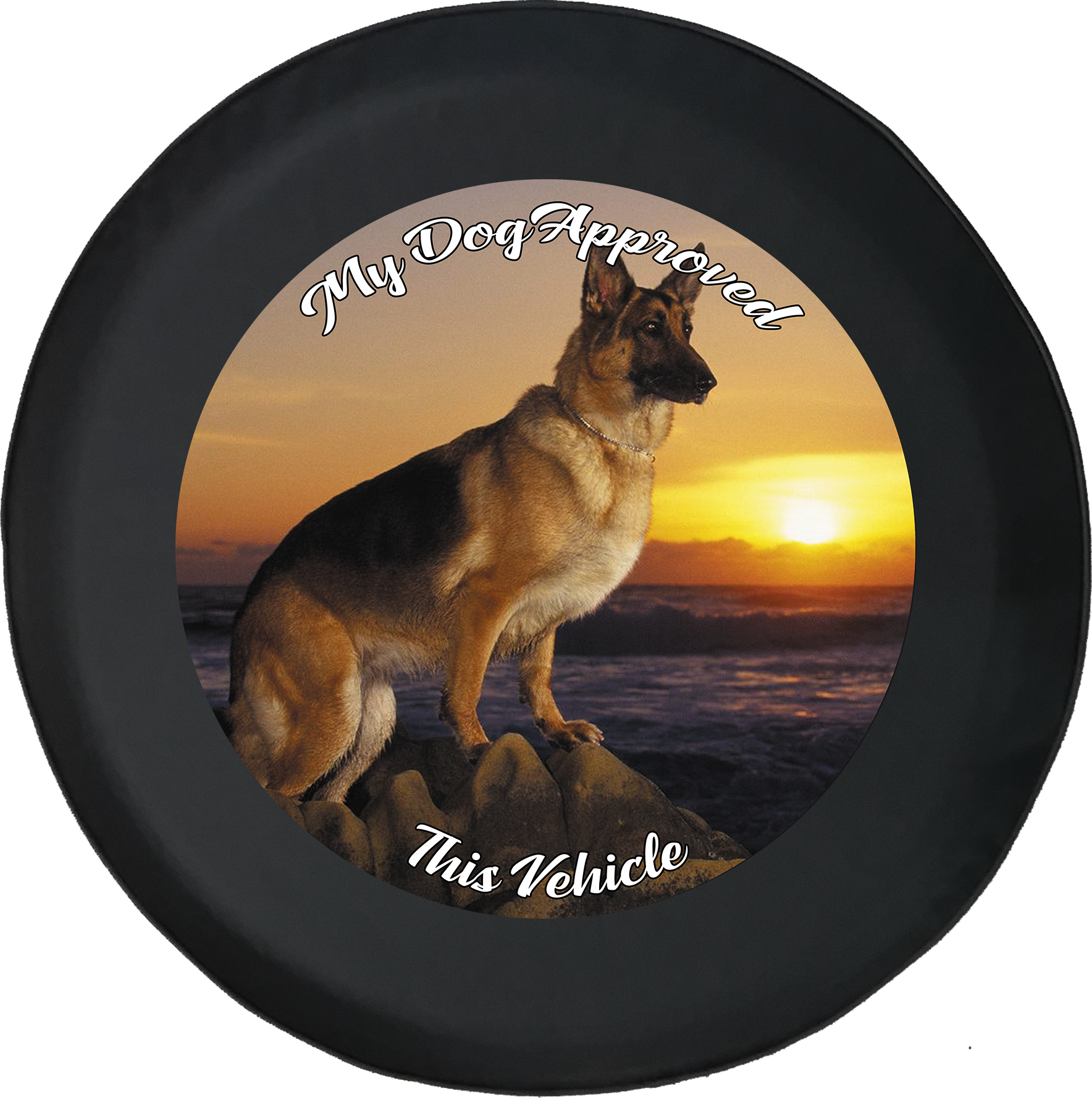 American Educational Products Watercolor Yin Yang Pet Dog Paw Jeep RV Spare Tire Cover Black 35 in