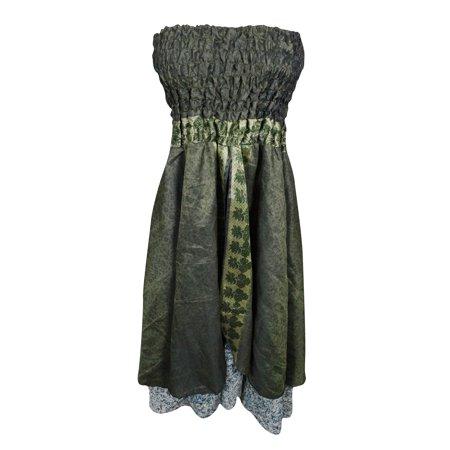 Mogul Womens Beach Dress Vintage Silk Sari Green Printed Two Layered Maxi Skirt
