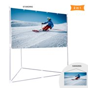 100 Inch 2-in-1 Video Projector Screen with Triangle Stand, 16:9 Aspect Ratio Hanging Screen for Home School Office Indoor Outdoor