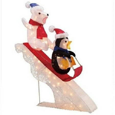 holiday time 48 polar bear and penguin sledding tinsel outdoor christmas decoration - Outdoor Tinsel Christmas Decorations