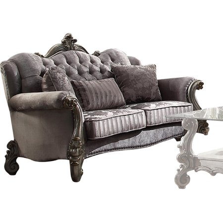Acme Versailles Loveseat with 3 Pillows in Velvet and Antique Platinum 56841