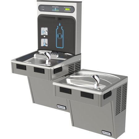 Bi Level Filter - Halsey Taylor HydroBoost Bottle Filling Station with Bi-Level Green ADA Cooler, Filtered, 8 GPH, Platinum Vinyl