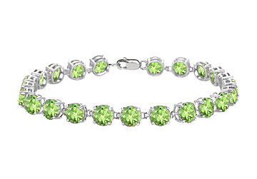 14K White Gold Prong Set Round Peridot Bracelet with 12.00 CT TGW by Love Bright
