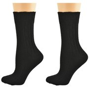 Sierra Socks Women's Acrylic Cable Crew Colorful 2 Pair Pack 2291 (Fits Shoe Size 4-10, Socks Size 9-11, Black)