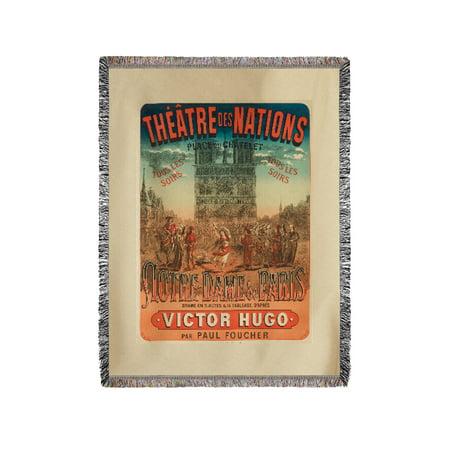 Theatre des Nations - Notre - Dame de Paris Vintage Poster France c. 1880 (60x80 Woven Chenille Yarn Blanket)