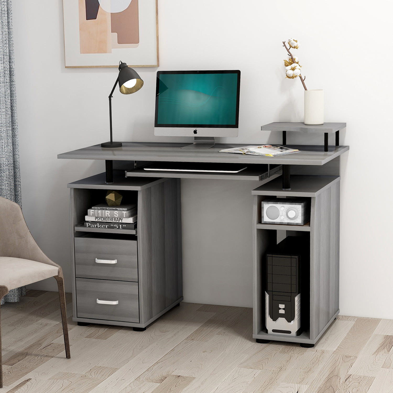 Merax Computer Desk With Keyboard Tray Slide-out Cabinet