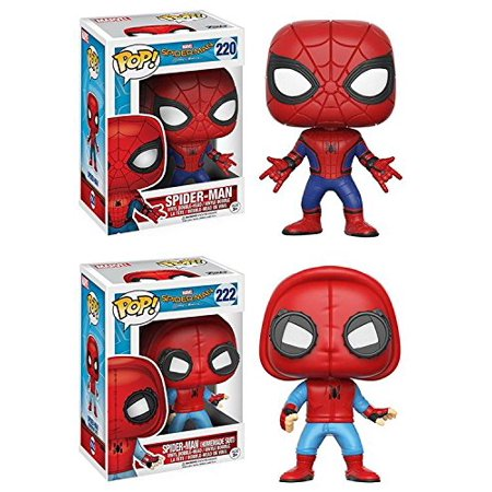 Funko   Spider Man Homecoming  Spider Man   Spider Man  Homemade Suit    Marvel Vinyl Bobble Head Figure Set New  From Spider Man Homecoming  Spiderman New Suit    By Pop