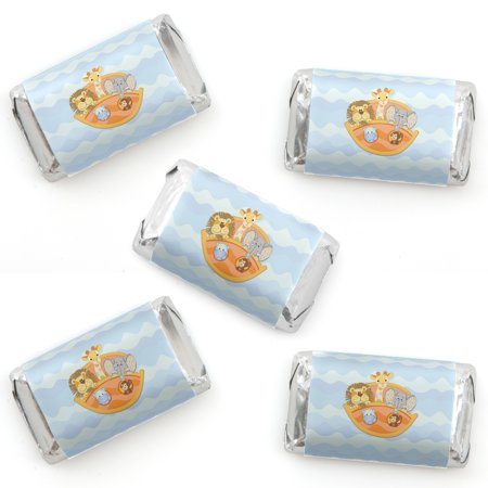 Noah's Ark - Mini Candy Bar Wrapper Stickers - Baby Shower Small Favors - 40 (Noah's Ark Baby Shower Theme)