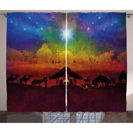 Abstract Curtains 2 Panels Set, Biblical Scene Birth in Bethlehem Christmas Nativity Camels Exotic Palm Trees, Window Drapes for Living Room Bedroom, 108W X 84L Inches, Multicolor, by Ambesonne