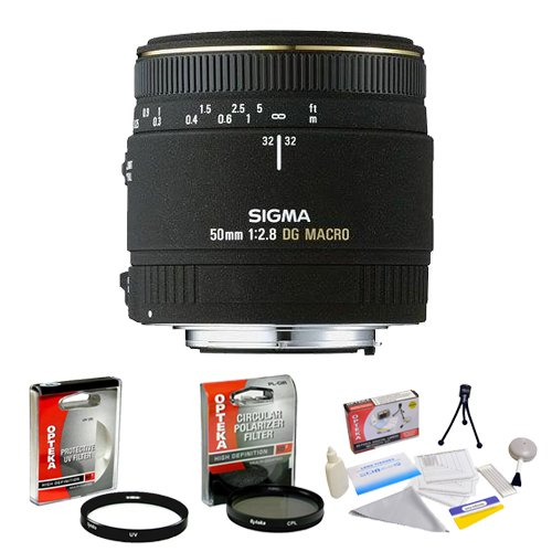 Sigma 50mm f/2.8 EX DG Macro Autofocus Lens for Nikon + Opteka UV Filter + Opteka CPL Filter + Opteka 5 Piece Cleaning Kit