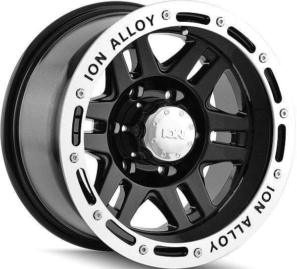 "17"" Inch ION 133 17x9 8x165.1(8x6.5"") -8mm Black Wheel Rim"
