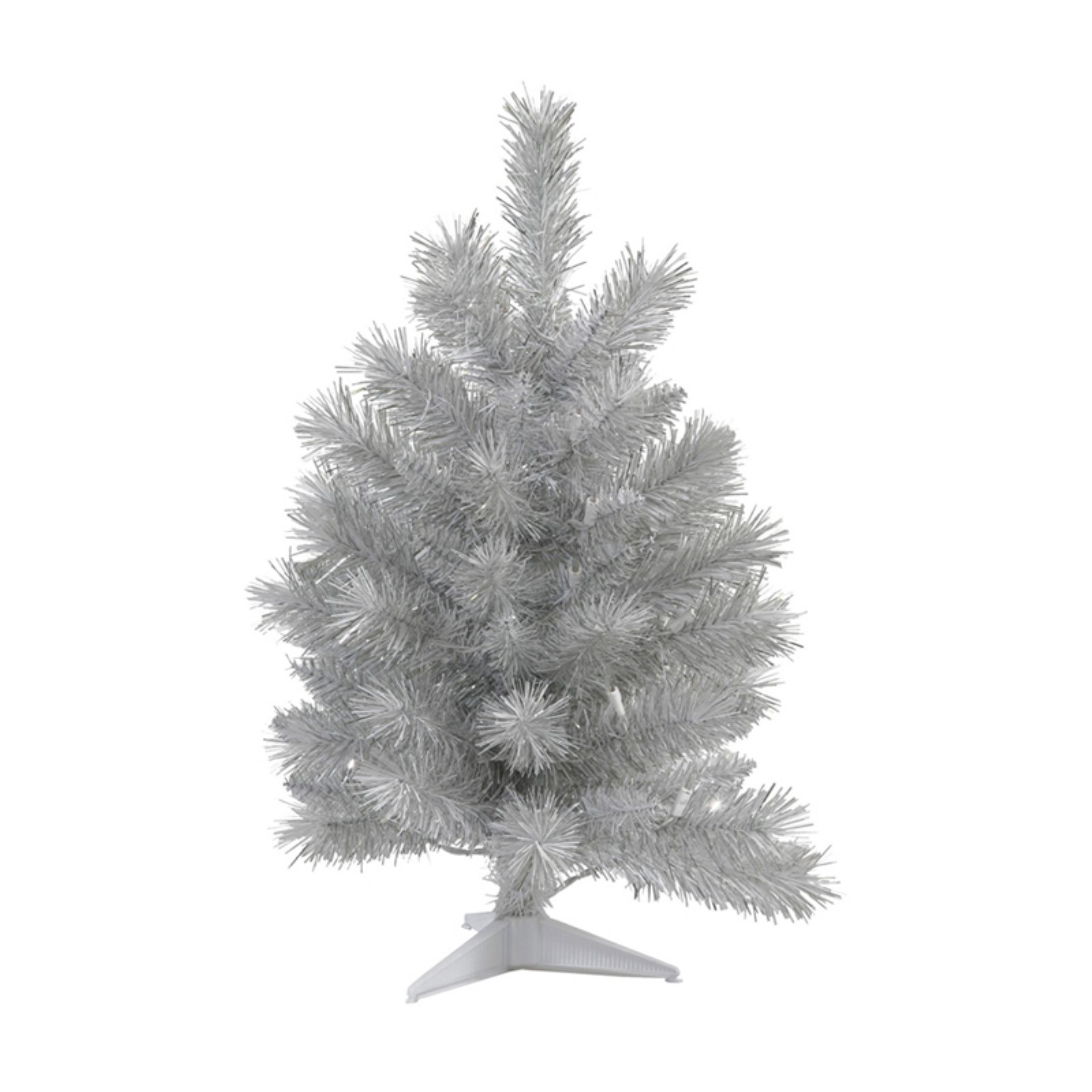 Vickerman 3' Silver White Artificial Tree featuring 132 PVC Tips.  Tree stand is included.