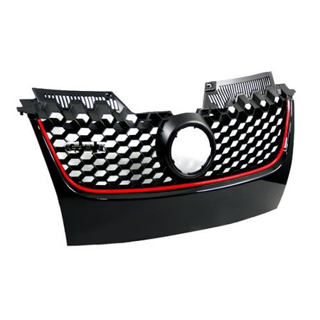 - Audrfi Fit:VW MK5 06-09 GTI 05-10 Jetta Honeycomb Mesh Style Front Grille With Red Trim