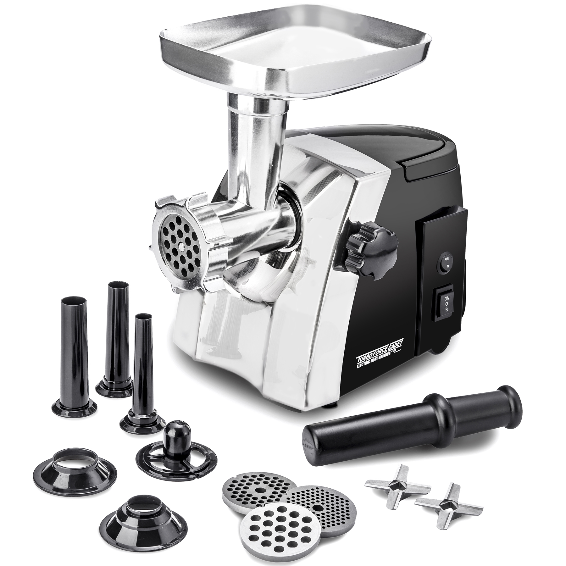 electric meat grinder  size #8 - model stx-1200-tfc  stx international turboforce cadet  hideaway handle  3 grinding plates  3 cutting blades  3 sausage stuffing tubes  kubbe attachment