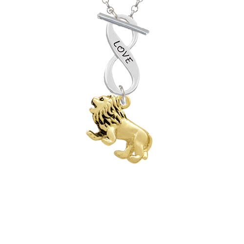 Gold Tone 3-D Lion Love Infinity Toggle Chain Necklace