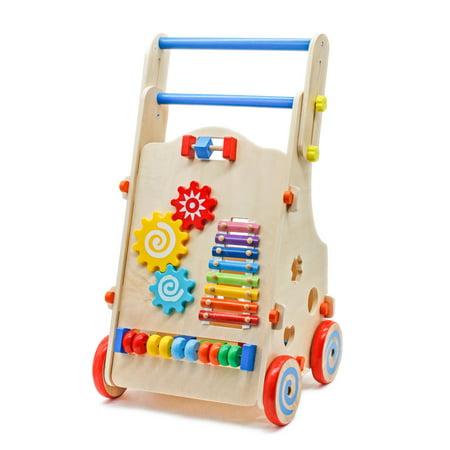 Adjustable Wooden Baby Walker Activity Walker Learning Toddler Learn