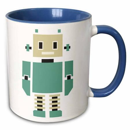 3dRose Cute Beige and Teal Tall Robot - Two Tone Blue Mug, 11-ounce