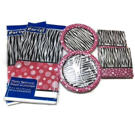 Zebra Print with Pink and White Border Pack Bundle with One Zebra Printed Foil Balloon with White Ribbon Attached, Zebra Pink Print Party Supply Bundle By Party Ship from - Pink Zebra Party Supplies