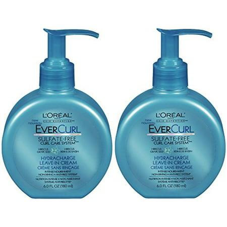 L'Oreal Paris Hair Expertise - EverCurl - Hydracharge Leave-In Cream - Net Wt. 6 FL OZ (180 mL) Each - Pack of - Creme Net
