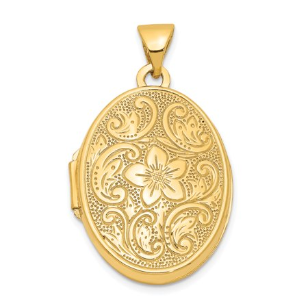 14k Yellow Gold Scrolled Floral Photo Pendant Charm Locket Chain Necklace That Holds Pictures Oval For Women