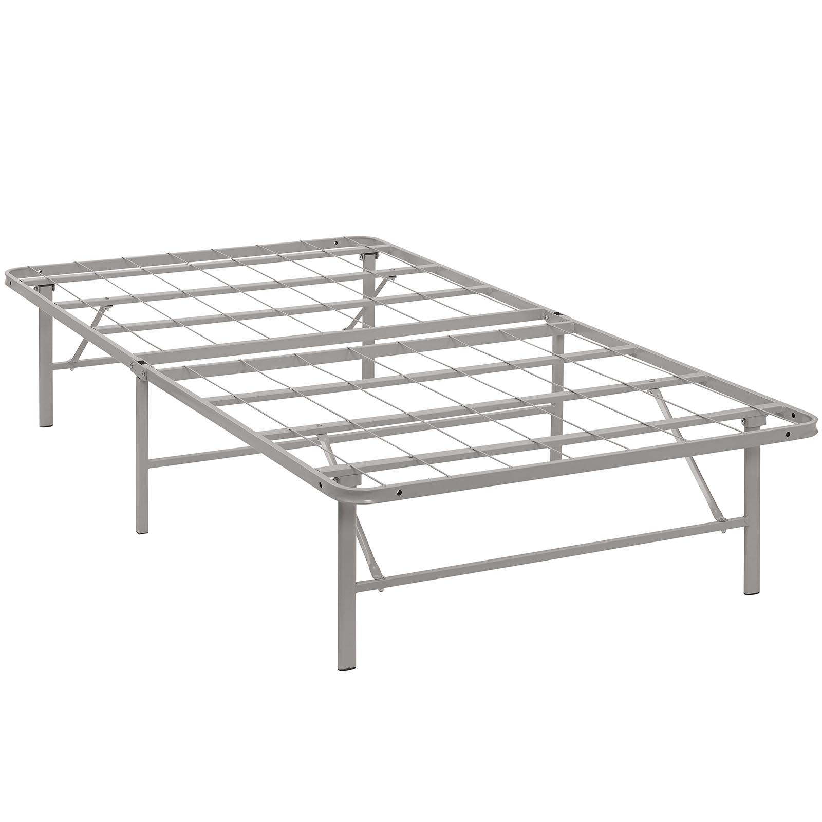 Modern Contemporary Urban Design Bedroom Twin Size Platform Bed Frame, Grey Gray, Metal Steel