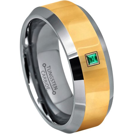 0.05ctw Princess Cut Emerald Tungsten Ring - 8MM Polished Beveled Yellow Gold Tungsten Carbide Wedding Band - May Birthstone Ring - 14kt Rose Gold Bezel - TN024PSRG-1EDs11.5