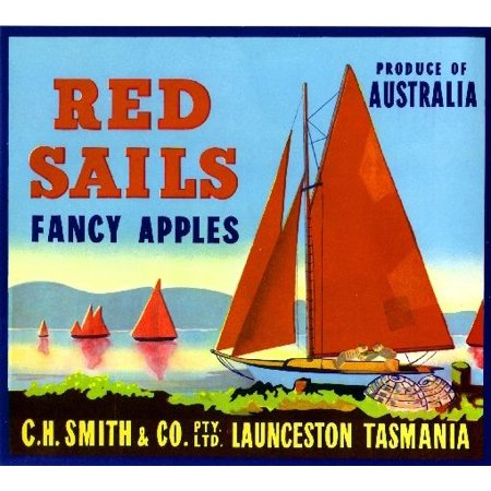 Launceston Tasmania Australia Red Sails Blue Apple Fruit Crate Label Art Print