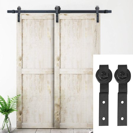 6.6 FT Bypass Sliding Barn Door Hardware Double Wood Doors One-Piece Rail Track Kit (Black)