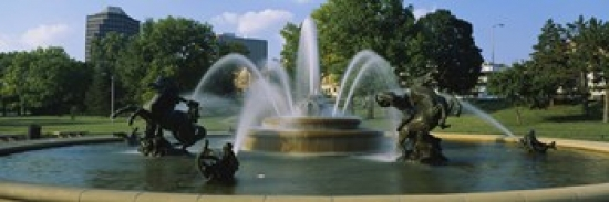 Fountain in a garden J C Nichols Memorial Fountain Kansas City Missouri USA Poster Print by Panoramic Images