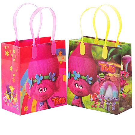 Trolls Characters 12 Authentic Licensed Party Favor Reusable Small Goodie Gift Bags - Valentine Goodie Bags