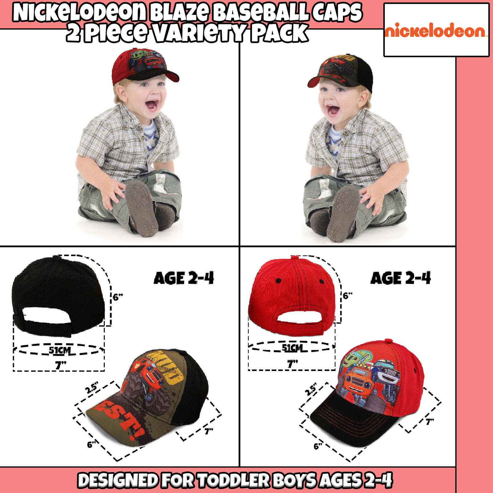 sale retailer 902ae d0a41 Nickelodeon - Nickelodeon Toddler Boys Blaze Character Cotton Baseball Cap,  2 Piece Design Set, Age 2-4 - Walmart.com
