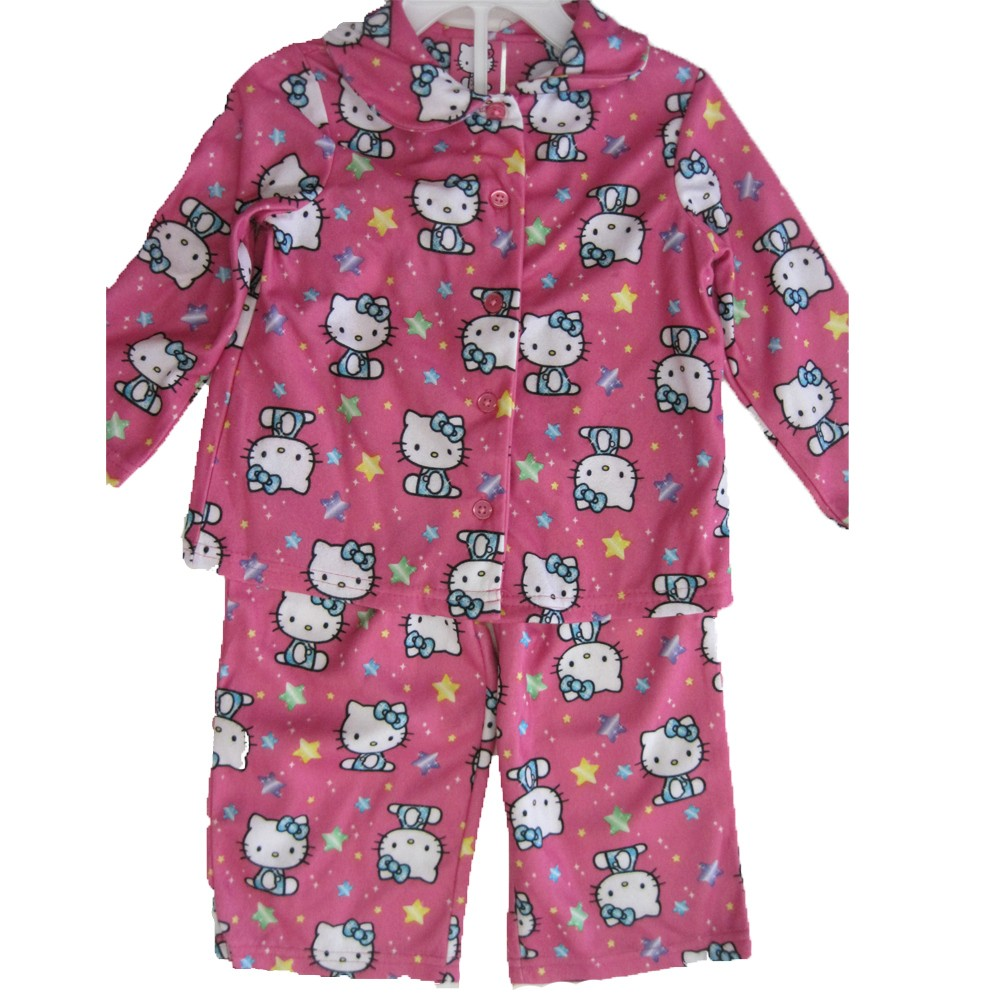 Hello Kitty Little Girls Pink Kitty Star Print 2 Pc Pajama Set 2T-4T