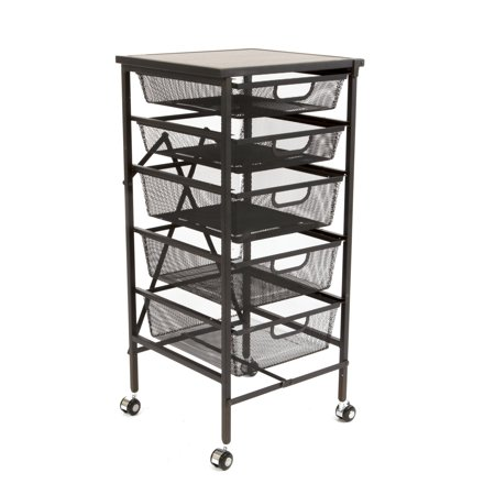 Origami Wheeled Foldable 5 Steel Mesh Drawer Storage Caddy Cart with Wooden Top