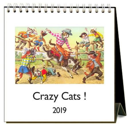 2019 Crazy Cats 2019 Easel Desk Calendar, Cat Art by Found Image Press